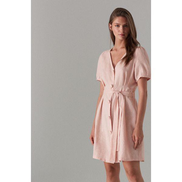 5273be26ead71e Lniana sukienka na guziki - Różowy - Czerwone sukienki damskie ...