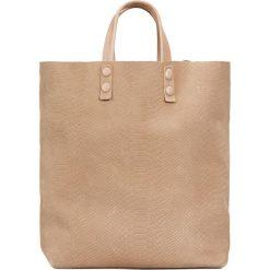 Skórzana torebka w kolorze beżowym - 45 x 46 x 11 cm. Torby na ramię damskie Marc O' Polo, w paski, ze skóry. W wyprzedaży za 434.95 zł.