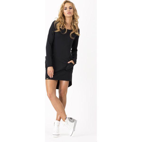 9432c77f79 Czarna Dresowa Asymetryczna Sukienka z dużymi kieszeniami - Sukienki ...