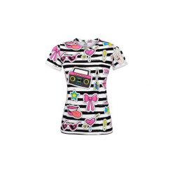 T-shirt Striped Stickers. Białe t-shirty damskie Pinky planet, z bawełny. Za 70.00 zł.