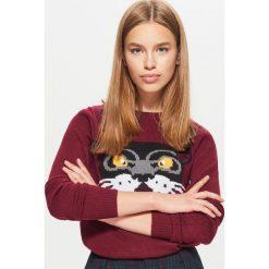 Sweter - Bordowy. Czerwone swetry damskie Cropp. W wyprzedaży za 29.99 zł.