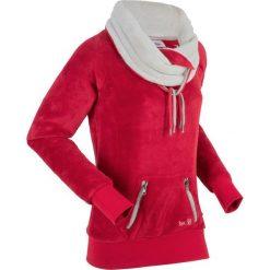 Bluza z polaru, długi rękaw bonprix ciemnoczerwono-matowy srebrny. Bluzy damskie marki KALENJI. Za 99.99 zł.