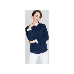 Koszula K275 Granat. Niebieskie koszule damskie Lenitif, z materiału, z kontrastowym kołnierzykiem. Za 99.00 zł.
