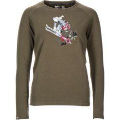 """Koszulka """"Nehalem"""" w kolorze khaki. Brązowe bluzki damskie Maloja, z aplikacjami, z okrągłym kołnierzem, z długim rękawem. W wyprzedaży za 108.95 zł."""