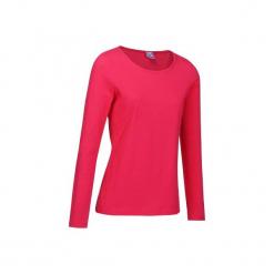 Koszulka długi rękaw Gym & Pilates 100 damska. Czerwone koszulki sportowe damskie DOMYOS, z bawełny, z długim rękawem. W wyprzedaży za 16.99 zł.