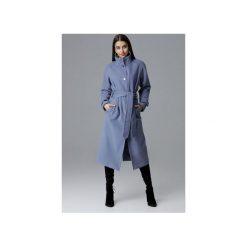 Płaszcz M624 Niebieski. Niebieskie płaszcze damskie Figl, w paski, eleganckie. Za 329.00 zł.