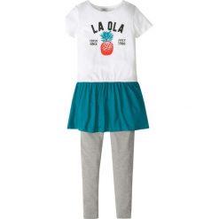 Sukienka + legginsy (2 części) bonprix biało - jasnoszary melanż. Legginsy dla dziewczynek marki bonprix. Za 27.99 zł.