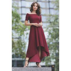 Sukienka asymetryczna bez ramion k485. Czerwone sukienki damskie Global, z materiału, wizytowe, z asymetrycznym kołnierzem. Za 179.00 zł.