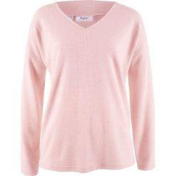 Sweter z polaru z dekoltem w serek bonprix pastelowy jasnoróżowy melanż. Swetry damskie marki bonprix. Za 54.99 zł.