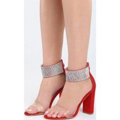 6ad64cfe88f2a5 Czerwone sandały damskie na słupku, na zamek - Kolekcja lato 2019 ...
