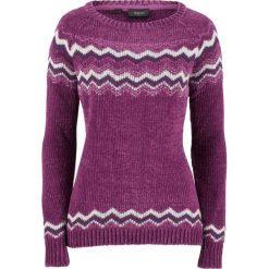 Sweter z szenili bonprix fiołkowy wzorzysty. Fioletowe swetry damskie bonprix. Za 89.99 zł.