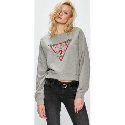 Guess Jeans - Bluza. Szare bluzy damskie Guess Jeans, z aplikacjami, z bawełny. Za 369.90 zł.