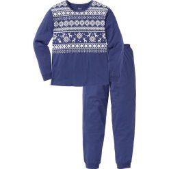 Piżama bonprix kobaltowo-biały z nadrukiem. Niebieskie piżamy męskie bonprix, z nadrukiem. Za 74.99 zł.