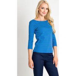 Niebieska bluzka w granatowe paski QUIOSQUE. Niebieskie bluzki damskie QUIOSQUE, w paski, z bawełny, z okrągłym kołnierzem, z długim rękawem. W wyprzedaży za 29.99 zł.
