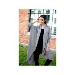 Długi beżowy sweter damski, asymetryczny sweter, sweter damski kardigan, narzutka damska. Brązowe kardigany damskie Ekoszale. Za 189.00 zł.