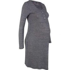 Sukienka shirtowa ciążowa i do karmienia piersią bonprix czarny melanż. Czarne sukienki damskie bonprix, melanż, z okrągłym kołnierzem. Za 74.99 zł.