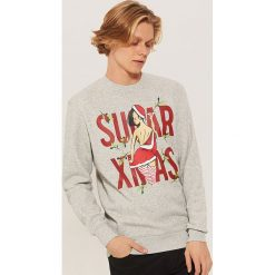 Bluza ze świątecznym motywem - Szary. Szare bluzy męskie House. Za 89.99 zł.