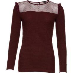 Sweter z siatkową wstawką bonprix bordowy. Swetry damskie marki KALENJI. Za 79.99 zł.