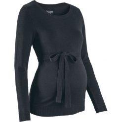 Sweter ciążowy z 100% bawełny, z wiązanym paskiem bonprix czarny. Czarne swetry damskie bonprix, z bawełny. Za 74.99 zł.