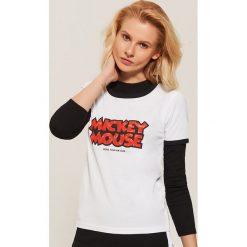 T-shirt Mickey Mouse - Biały. Białe t-shirty damskie House, z motywem z bajki. Za 39.99 zł.