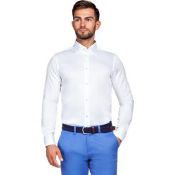 Koszula Biała Chiara 2. Białe koszule męskie LANCERTO, w kwiaty, z bawełny, z kontrastowym kołnierzykiem. Za 299.90 zł.