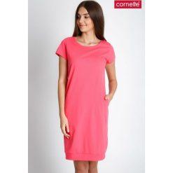 Koralowa gładka piżama koszula nocna QUIOSQUE. Piżamy damskie QUIOSQUE, z bawełny. W wyprzedaży za 59.99 zł.