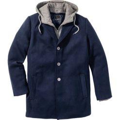 """Płaszcz """"Slim fit"""" bonprix ciemnoniebieski. Niebieskie płaszcze męskie bonprix, w prążki, z dresówki. Za 239.99 zł."""