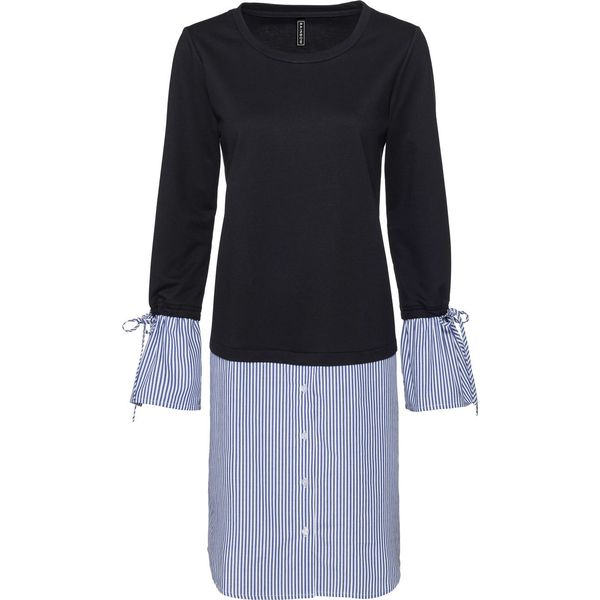ab1dfd156b Sukienka dresowa z koszulową wstawką bonprix czarno-biało ...