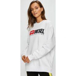 Diesel - Bluza. Szare bluzy damskie Diesel, z aplikacjami, z bawełny. W wyprzedaży za 449.90 zł.