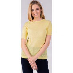 Żółty melanżowy sweter QUIOSQUE. Żółte swetry damskie QUIOSQUE, z dzianiny, z okrągłym kołnierzem. W wyprzedaży za 39.99 zł.