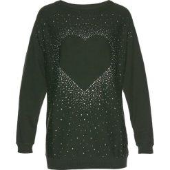 Długi sweter z aplikacją ze sztrasów w kształcie serca bonprix bardzo ciemny oliwkowy. Swetry damskie marki bonprix. Za 74.99 zł.