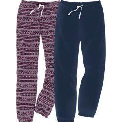 Spodnie do spania (2 pary) w 2 długościach bonprix niebiesko-czarny bez z nadrukiem. Fioletowe spodnie materiałowe damskie bonprix, z nadrukiem. Za 55.98 zł.