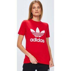 Adidas Originals - Top. Czerwone topy damskie adidas Originals, z krótkim rękawem. Za 129.90 zł.