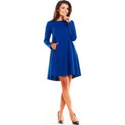 Niebieska Sukienka Oversize z Suwakami na Rękawach. Niebieskie sukienki damskie Molly.pl, biznesowe, z długim rękawem. Za 139.90 zł.