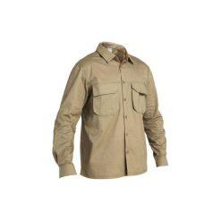 Koszula myśliwska długi rękaw 500. Brązowe koszule męskie SOLOGNAC, z bawełny, z długim rękawem. Za 79.99 zł.