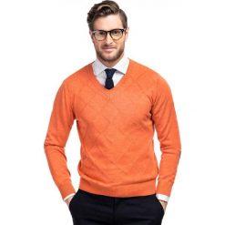 Sweter FRANCO 35-11. Brązowe swetry przez głowę męskie Giacomo Conti, z bawełny, z klasycznym kołnierzykiem. Za 99.00 zł.