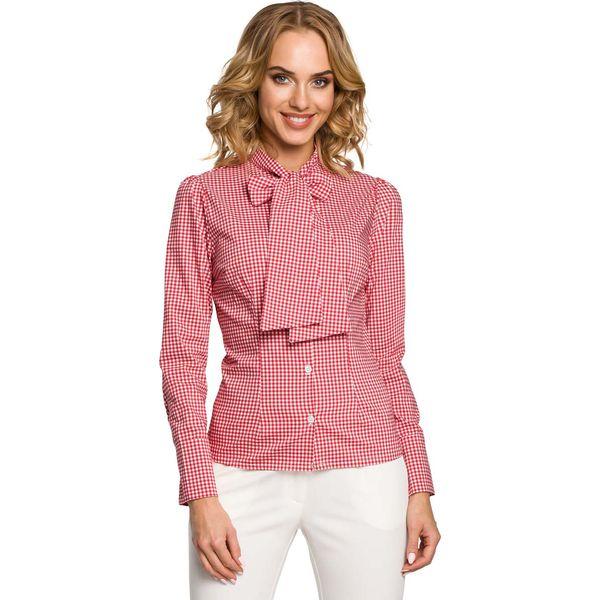 6540f03377811a Koszula w Czerwoną Kratkę z Wiązaną Kokardą - Koszule damskie Molly ...