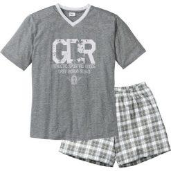Piżama z krótkimi spodenkami bonprix szary melanż-biały. Szare piżamy męskie bonprix, melanż, z krótkim rękawem. Za 44.99 zł.
