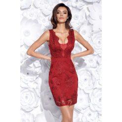 Sukienka z gipiury 2163. Czerwone sukienki damskie Bico, eleganckie, z dekoltem na plecach. Za 229.00 zł.