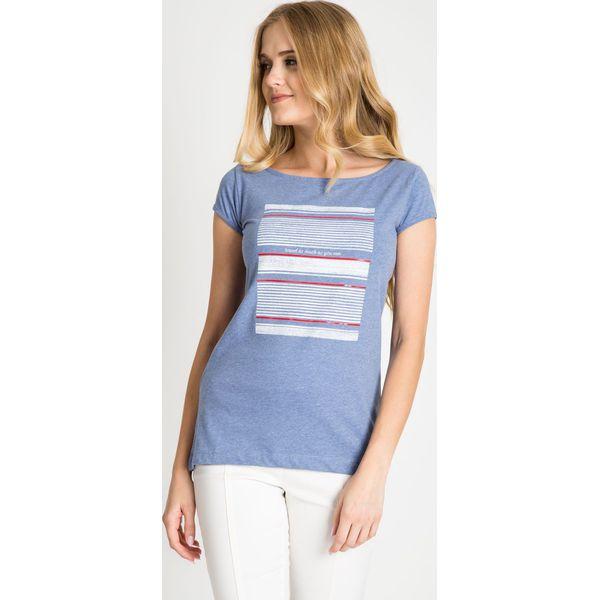 c233671a898d Niebieska bluzka z printem QUIOSQUE - Bluzki damskie marki QUIOSQUE ...