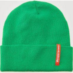 Czapka z hasztagiem - Zielony. Zielone czapki i kapelusze damskie House. Za 25.99 zł.