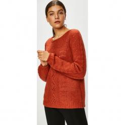 Vila - Sweter. Czerwone swetry damskie Vila, z dzianiny, z okrągłym kołnierzem. Za 219.90 zł.