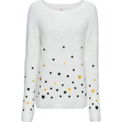 Sweter w serca bonprix biel wełny wzorzysty. Swetry damskie marki bonprix. Za 109.99 zł.