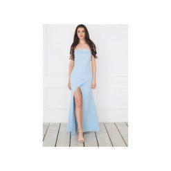 """Sukienka """"Joanna"""" - błękitna. Niebieskie sukienki damskie Waisted, z elastanu, z gorsetem, z długim rękawem. Za 399.00 zł."""