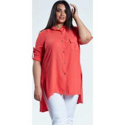 f33d63824 Asymetryczna koralowa koszula ALMA duże rozmiary OVERSIZE PLUS SIZE WIOSNA.  Bluzki damskie marki Moda Size