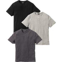 T-shirt (3 szt.) bonprix jasnoszary melanż + antracytowy melanż + czarny. Czarne t-shirty męskie bonprix, melanż. Za 98.97 zł.