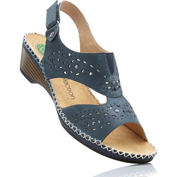 c14b2355fe1414 Wygodne sandały skórzane bonprix ciemnoniebieski - Sandały damskie ...