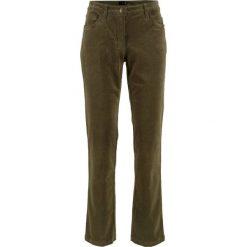 Spodnie sztruksowe ze stretchem bonprix ciemnooliwkowy. Spodnie materiałowe damskie marki DOMYOS. Za 79.99 zł.