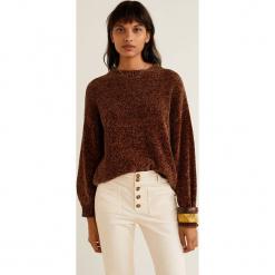Mango - Sweter Saeta. Brązowe swetry damskie Mango, z dzianiny, z okrągłym kołnierzem. Za 119.90 zł.