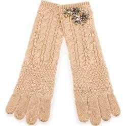 Rękawiczki Damskie TWINSET - Guanti OA8T6A  Beige Chiaro 03024. Brązowe rękawiczki damskie Twinset, z materiału. Za 289.00 zł.